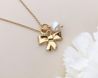 Bow necklace Gold bow ribbon necklace Princess bow Tie knot necklace Natural pearl Ribbon charm Promise necklace Sterling silver bow Favors