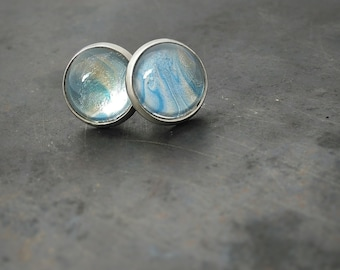 Sky blue studs ~ glass stud earrings ~ post earrings ~ glass cabochon earrings ~ glass earrings ~ ear rings ~ jewelery ~ gift for her