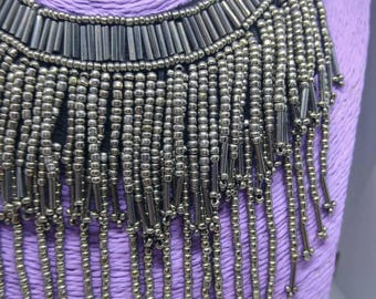 Dark silver cascade necklace