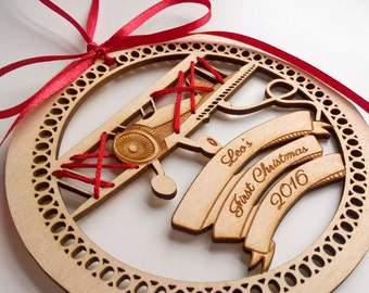 Baby's First Christmas Ornament: Personalized Christmas Ornament - Wooden Biplane Christmas Ornament for Baby or Child