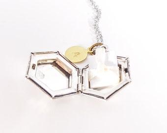 Antique Silver Locket Necklace - Vintage Style Locket - Bridesmaid Locket - Personalized Necklace - Personalized Bridesmaid Gift - Wedding