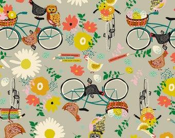 Kids American cotton fabric - Blend Fabrics designer Elizabeth Grubaugh - hens and bike ride owls - by 50cm (110 x)