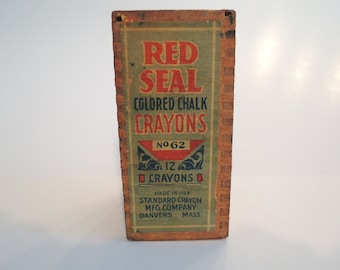 Wooden Chalk Crayon Box, Red Seal Colored Chalk Crayons, Hours of fun, Beautiful condition, Vintage