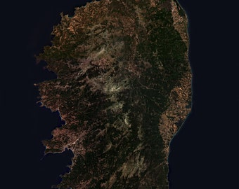 Instant Downloadable Satellite Image of Corse in the Mediterranean Sea- Elements of this image furnished by ESA