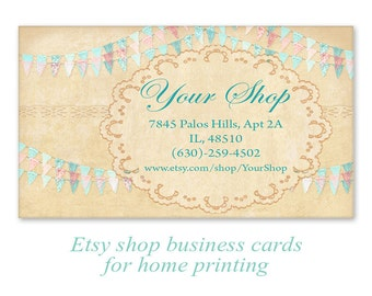 Business cards on Printable Digital collage sheet Printable Download Personalized business cards - BUNTING CARDS