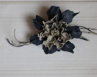 Leather brooch flower
