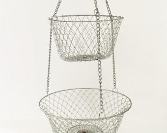 Wire Hanging Baskets fruit Basket Collapsible Basket 2 Tier Vintage Storage Basket