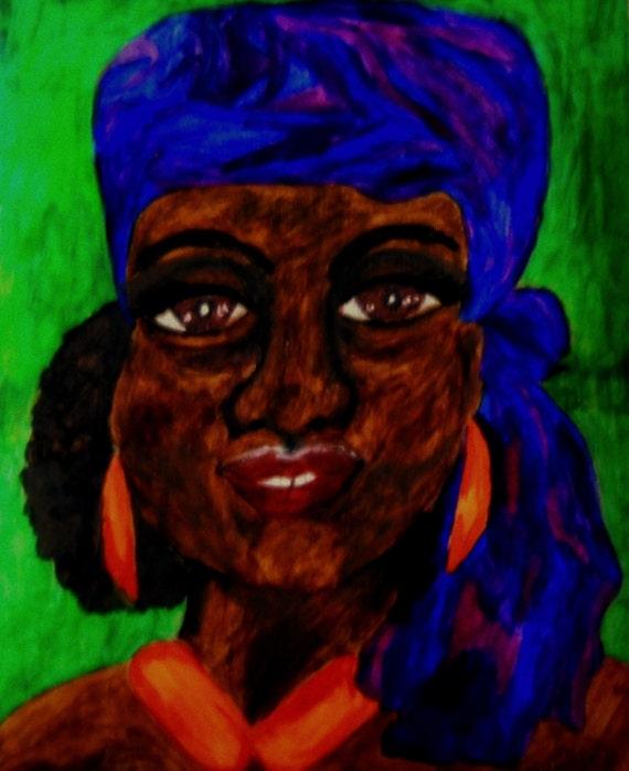 India Ink Portrait, JOSIE, Ethnic Folk Art Dark Skinned Girl in Purple Scarf, African American Artist Stacey Torres