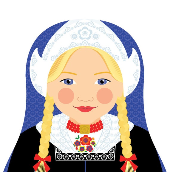 Dutch Doll Art Print with traditional folk dress, matryoshka