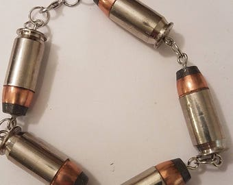 Silver 45 Brass And Bullet Bracelet / Optional Charm Handmade Jewelry