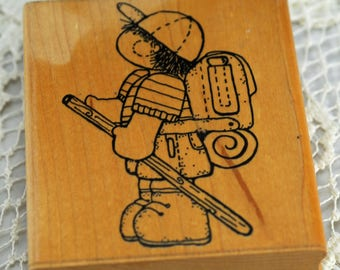 Little Boy Hiking Retired Rubber Stamp  #495-AS