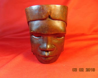 """One (1), 4 1/2"""" Tall,  Hand Carved, Tribal Art, Drinking Vessel, with Face."""