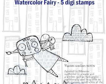 Watercolor Fairy - 5 digi stamp bundle