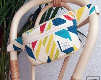 Fanny pack, waist bag, multicolored geometric print, belt bag, bum bag, geometric multicolor print