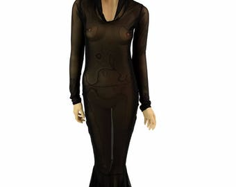 Glamorous, Bombshell Sheer Mesh See Through Hooded Gothic Gown  with Long Sleeves and Puddle Train - 150893
