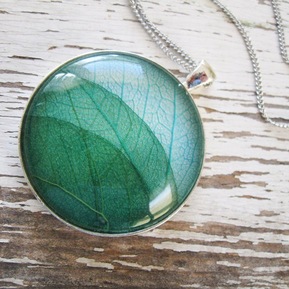 Real Leaf Necklace - Land and Sky - Blue and Green Leaf Necklace