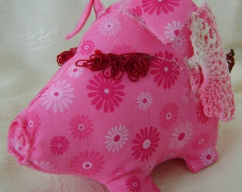 Flying Pig Pin Cushion, Crocheted Pink Variegated  Wings Beaded Tail