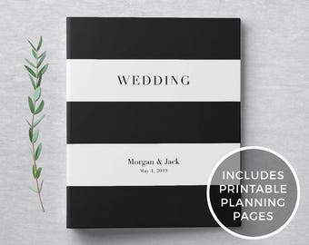 Wedding Planning Binder + Printable Wedding Planner, Custom 3-Ring Binder - Engagement Gift, Bridal Shower Gift - Black & White Striped