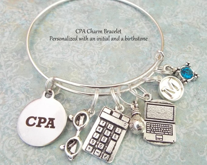 CPA Charm Bracelet, Personalized Graduation Gift for CPA, Gift for Accountant, Graduation Jewelry, Gift for New Graduate, Gift for Her