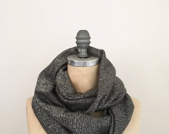 Infinity Scarf in Grey and Sulver Lurex Sweater Knit