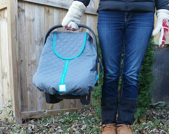 Baby Carseat Cover- Infant Car Seat Cover- Baby Car Seat Canopy-Winter Polar Car Seat Line-Grey with Teal Trim & grey gingham inside