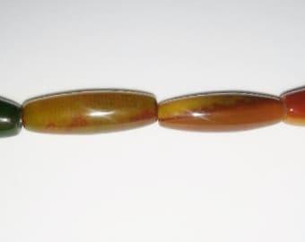 Agate beads large barrel beads barrel beads 13x40mm beads green stone beads orange stone beads semiprecious stone semiprecious beads agate
