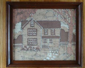 Mid Century Framed Batik by B.P. Munson - House with Picket Fence, Cobblestone Walk, Tree - In Shades of Brown and Tans