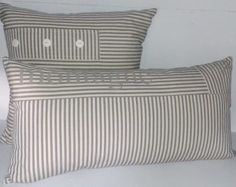 Gray and white striped pillow canvas 30 x 60