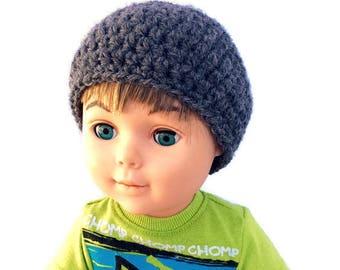 18 Inch Boy Doll Gray Hat, Crocheted Hat, Gray Beanie, Boy Doll Clothes