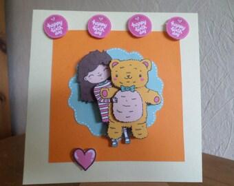 birthday card for little girl with Teddy bear