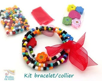 Red Princess Kit! Seed beads bracelet/necklace, wooden beads and Ribbon (kit114)