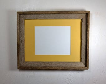 12x16 frame from reclaimed wood with natural colors yellow 8x10 mat fits 8x12,8.5x11 or 9x12 20 mat colors available