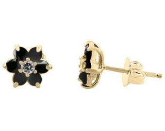 Black Onyx Gemstone Diamond Flower Stud Earrings Yellow White Rose Gold Silver Black Onyx Birthstone Gemstone Stud Earrings Color Stone Stud