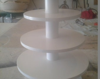 4 Tier Round Custom Made Cupcake Stand With 1/2 Inch Thick Tiers. Holds up to 56 Cupcakes.