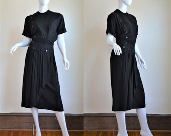 1940s I Magnin Classic Black Crepe Dress with Button Detail & Pleated Swag