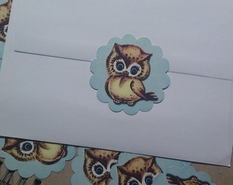 Vintage baby owl sticker, Baby owl labels,  owl stickers,  Baby shower owl label,  owl favor tags,  owl envelope sticker