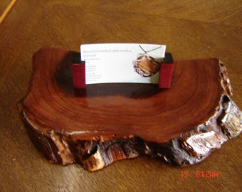 Live Edge Busines Card Hoder, Meaquite with Purple Heart Card Stops.