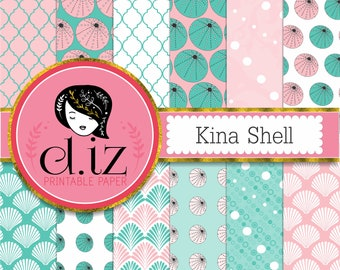 Turquoise and pink digital paper, sea urchin 'Kina' seashell turquoise and pink 12 papers