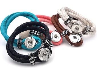 5 faux leather snap chunk bracelets