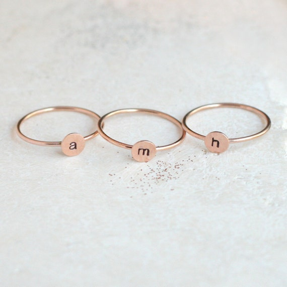 initial ring personalized ring ROSE SILVER or GOLD one