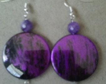 Purple and Black Disc Earrings
