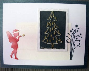 "Painting ""Angel and Christmas tree"""