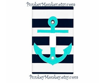 Anchor nautical lightswitch cover plate children's room decor ocean beach sea navy and tiffany blue striped