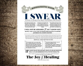 The Hippocratic Oath Quote Poster - Medical Graduation Gift - Doctor Physician Gift - Medical Student Gift - Gift for Doctor Personalized