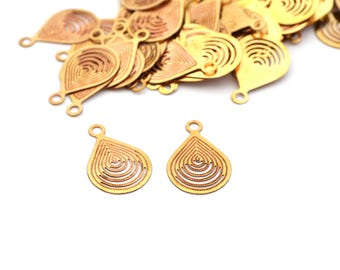 2 filigree drops charms 18x12mm copper Golden