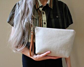 Genuine Leather and Natural Linen Slub fabric Wristlet