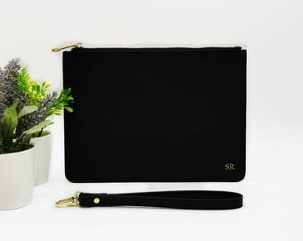Black Monogrammed Leather Clutch - Black Personalised Leather Bag - Genuine Leather Bag - Gift for Her - Personalized Gift - Evening Clutch