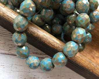 12mm Czech Crystal, Czech Glass,Round Faceted in Sky Blue, 15pc