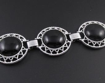Sarah Coventry Jet Set Bracelet, Silver Bracelet, Black Bracelet