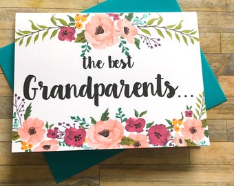Grandparents Pregnancy Announcement Card - Pregnancy Reveal to Grandparents - New Great Grandparents - Having a Baby - Pregnant - MULBERRY